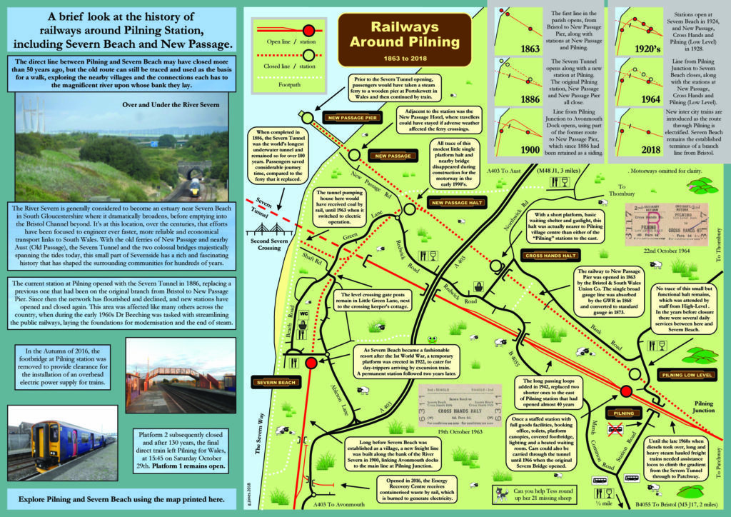 "Pilning station literature, ""A brief look at the history of railways around Pilning Station, including Severn Beach and New Passage"". This leaflet shows pictorial information relating to historical railways in and around Pilning and Severn Beach.  Please contact savepilningstation@gmail.com for an accessible version of this leaflet."