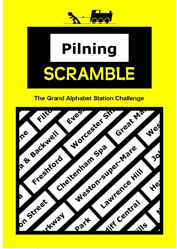 MvT and Pilning station challenge leaflet: Pilning Scramble. The grand Pilning Train Challenge. Leaving on the morning train, visit stations large and small and accumulate points along the way before successfully making it back to Pilning again in the afternoon. The number of points awarded are determined by the initial letter of each visited station's name.