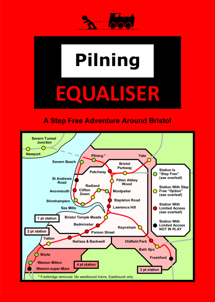"Pilning Equaliser leaflet, front page. Rules follow as alt text in the next image. Man vs Train, Pilning Equaliser. ""A step free adventure around Bristol"". Illustration shows a map of the Freedom Travelpass Area, annotated with stations eligible, the points available for each and the accessibility status of each. This information is conveyed in tabular format further down this web page."