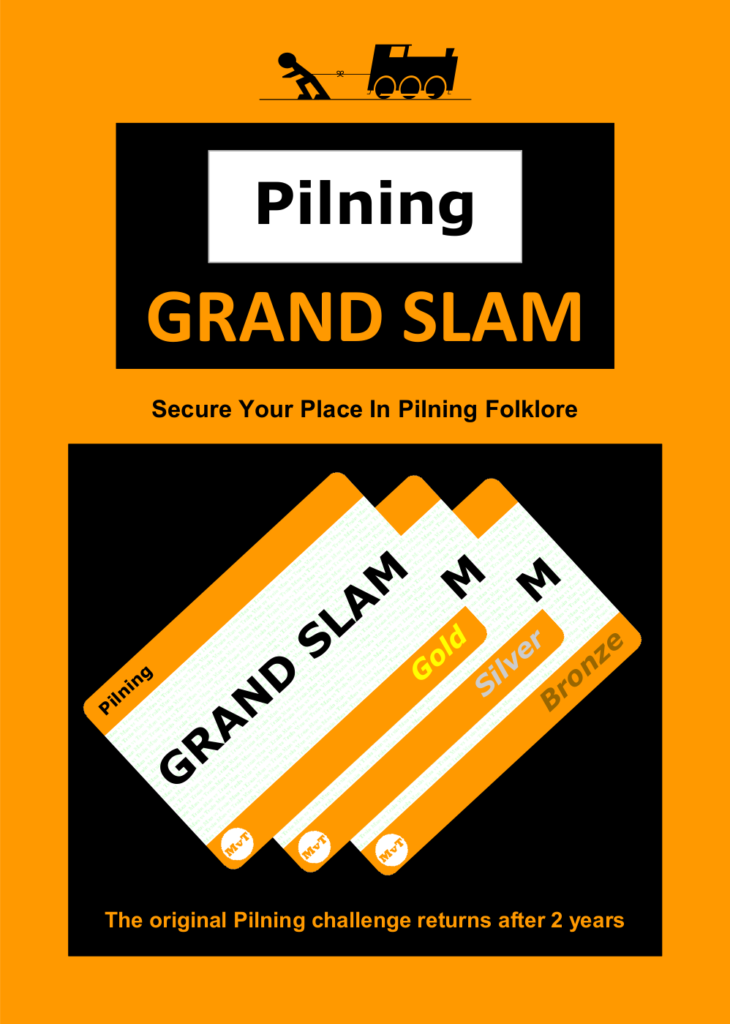 "Pilning Grand Slam leaflet, front page. Rules follow as alt text in the next image. Man vs Train, Pilning Grand Slam. ""Secure your place in Pilning Folklore. The original Pilning Challenge returns after 2 years."" Illustration of three Pilning-branded train tickets marked Gold, Silver and Bronze."