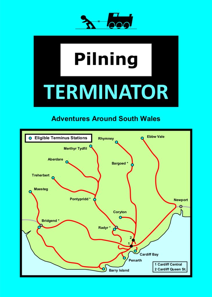 "Pilning Terminator leaflet, front page. Rules follow as alt text in the next image. Man vs Train, Pilning Terminator. ""Adventures around South Wales"". Illustration of the Cardiff Valley Lines services as a geographic map, detailing the eligible terminus stations.  These stations are: Cardiff Bay, Penarth, Barry Island, Bridgend (see note), Maesteg, Treherbert, Aberdate, Merthyr Tydfil, Pontypridd (see note), Radyr (see note), Coryton, Bargoed (see note), Rhymney and Ebbw Vale.  Additional notes on map labelled 1 and 2 to denote Cardiff Central and Cardiff Queen Street respectively."