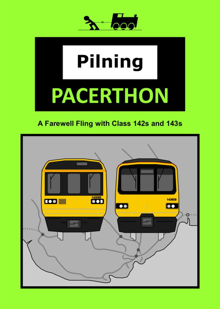 MvT and Pilning Station leaflet: Pilning Pacerthon. A farewell fling with Class 142s and 143s. A pictographic representation of a class 142 and a class 143 is set to the background of a map of the Valley Lines in South Wales.